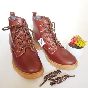COLE HAAN BRIANA  GRAND LACE UP HIKER BOOTS